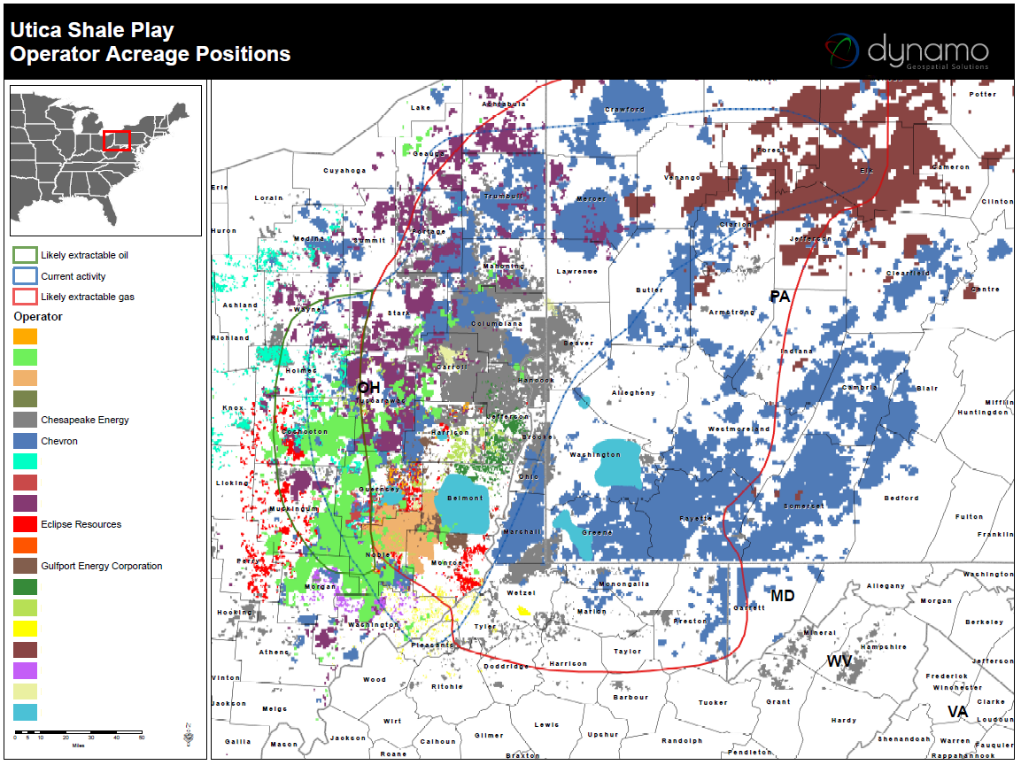 Utica Shale Maps And GIS Areas Of Lease Activity - Utica shale map